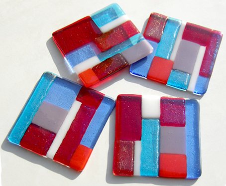 iridescent fused glass coasters