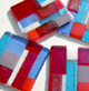 abstract fused glass coaster set