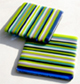 bluegreenlilac striped glass coasters